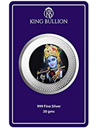 King Bullion Krishna Color Coin 20 gm 999 Precious Silver Coin