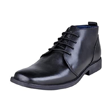 Delize Men's Black Leather Formal Lifestyle Shoes (Delize 8063 Black ) UK 11
