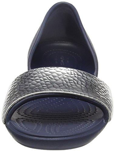 Crocs Crocslina Embellish Dorsayflat Nvy/Sil, Ballerine Donna Blu (Navy/Silver)
