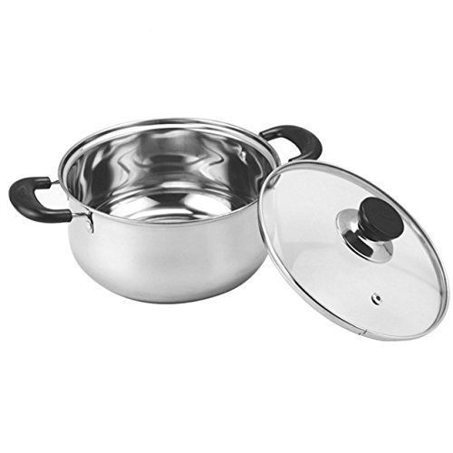 20cm Cooking Pot with Glass Cover Korean Style Thickened Stainless Steel Dual Handles Cookware Sauce Pot