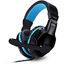 Expresstech @ Gaming Headset Compatible avec PS4 PC Jeu D'ordinateur et éclairage Over-Ear Headphone Headset - Noir & bleu