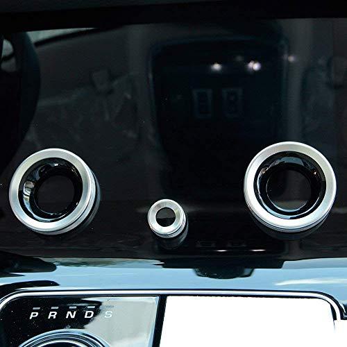 Preisvergleich Produktbild Aluminiumlegierung Zentralklimaanlage Volume Knobs Ring Trim Cover Autozubehör für Velar 2017 2018 Silber