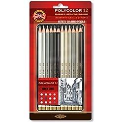 R de K1081–Polycolor 12lápices acuarelables gris tonos Dibujo Juego para artistas de KOH-I-NOOR Caja de metal