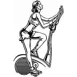 Hilai 85 * 57cm Wandaufkleber, entfernbare Aufkleber Wand-Aufkleber im Schlafzimmer Wohnzimmer Lounges Startseite Fenster Glastür Dekor Badezimmer oder Dekoration Black Beauty Radfahren Fitness Stil