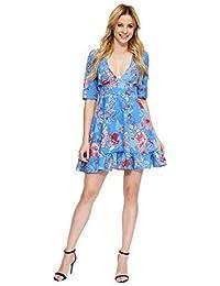 cf1d08680f01 Makadamia Womens Mini Flounce Dress Flared Flower Pattern V-Neck Short  Sleeve Tunic FA592
