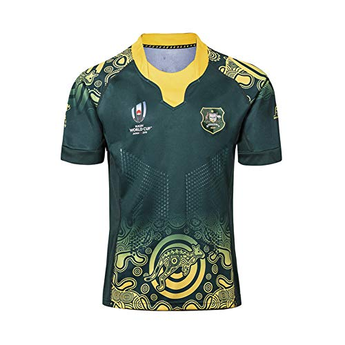 WYNBB 2019 Weltmeisterschaft Rugby Jersey Rugby-Trikot Australian Home/Away für Männer Kurzarm-Freizeit-T-Shirt-Trainingsanzüge Australien Heim Auswärts,Green,3XL/195-200CM