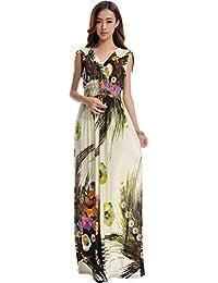 Vogstyle Mujer Impresa floral de Boho falda larga vestidos para la playa para el verano