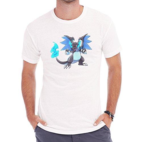 Pokemon Charizard Dragon Fire Flying Ice Blue Herren T-Shirt Weiß
