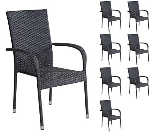 Terrasse, Stapelbar (8er Set Stapelstühle Armlehnstühle Gartenstühle in schwarz mit Armlehnen exkl. Auflage stapelbar für Garten, Terrasse, Balkon oder Bistro - Gartenmöbel Stühle Terrassenstuhl Balkonstuhl Stuhl Gastro)