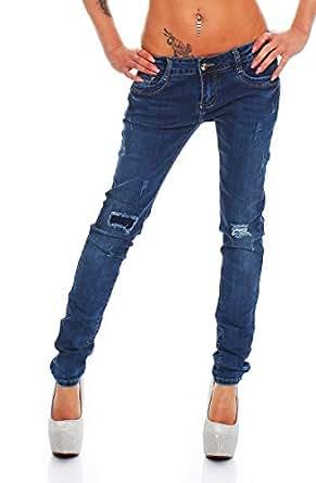 5637 Fashion4Young Damen Röhrenjeans Jeans Hose Stretch-Denim in Dunkelblau verfügbar in 5 Gr. (XS=34, Dunkelblau)