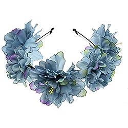 YAZILIND nueva novia de la Dama de honor Europea y americana de la joyería de la tela de la mariposa flor diadema accesorios azul