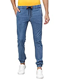 Urbano Fashion Men's Light Blue Jogger Jeans Slim Fit Stretch