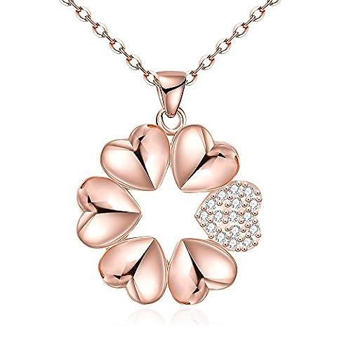 yeahjoy Charm pendentif Femme Plaqué or rose cœurs forme colliers