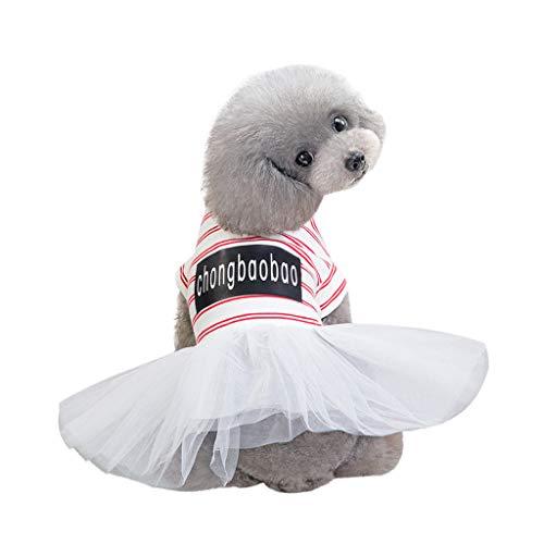 YWLINK Mode Haustier KostüMe Sommer Elegant Retro Streifen Mesh Patchwork Atmungsaktiv Einfach Party Hochzeit Kleid(Weiß,S)