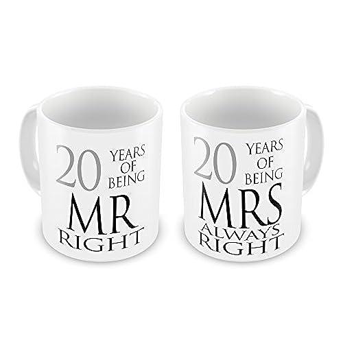 Pair Of Mr Right Mrs Always Anniversary 20th China Novelty Gift Mugs