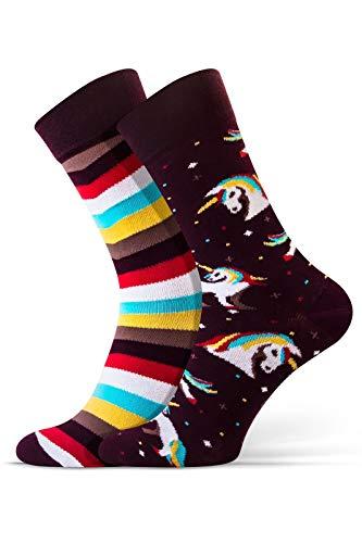 Sesto Senso® Lustige Socken Baumwolle Damen Herren 1er oder 3er Paar Wadensocken Unisex Wunderliche Seltsame Ungerade Fun Socks (38-41, Einhorn)