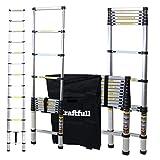 Craftfull Aluminum SOFT CLOSE Teleskopleiter inkl. Tragetasche - in 2/2,6/2,9/3,2/3,8/4,1/4,4 Meter - Mehrzweckleiter - Stehleiter - Aluminiumleiter - Leiter - Schiebeleiter - Aluleiter (4.1 Meter)