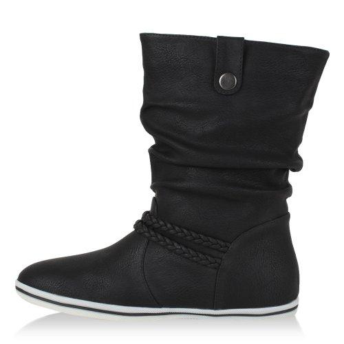 Damen Stiefeletten | Schlupfstiefel Flach | Stiefel Leder-Optik | Metallic Schuhe Boots | Trendy Übergangsschuhe Schwarz