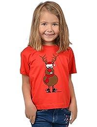 VERI zu Nikolaus Geschenke Idee Mädchen T-Shirt RENTIER RUDOLPH mit der roten Nase Cartoon Weihnachtsshirt Kindershirt Weihnachtsmotiv Advent Weihnachtszeit in rot : )