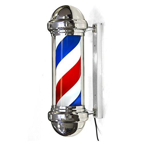 Jitsu Barbierstab Leuchtkugel 60 cm Traditional Weiß Blau Beleuchtende Rotierende Streifen mit LED Birne -