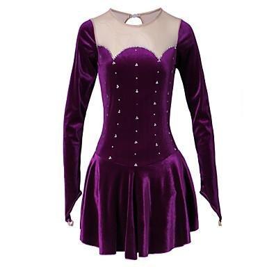 TT&DRESS Vestido de patinaje artístico Mujer Chica Vestido de Patinaje Sobre Hielo Morado Terciopelo Clásico Rendimiento Ropa de Patinaje Manga , purple , m
