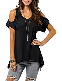 SODIAL(R) Women Sexy Off Shoulder Cut Out Slit Sleeve Loose Stretch T-Shirt Top-Black UK14