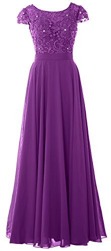 MACloth Women Cap Sleeve Mother of Bride Dress Vintage Lace Evening Formal Gown (Custom Size, Amethyst) (Pleated Sleeve Neck Scoop Short Top)