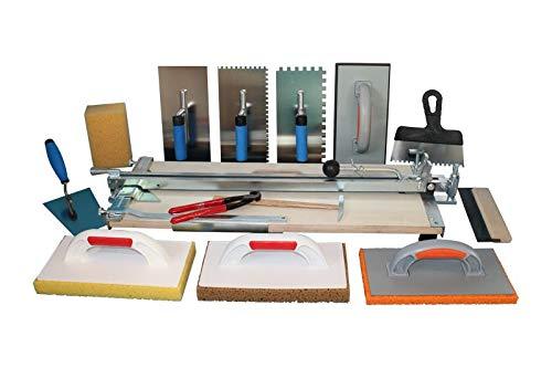 Profi Fliesenschneider 750 mm Schnittlänge und grosses Werkzeugset + Gratis Winkel für Diagonalschnitte und Ersatzschneidrad mit Achse