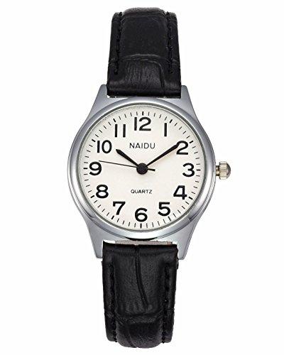 JSDDE Uhren Damen Einfache Stil Armbanduhr Quarzuhr Bambusknoten Lederarmband Uhr Arabische Ziffern Analoge Uhr Quarzuhr Kleideruhr für Frauen Mädchen (schwarz)