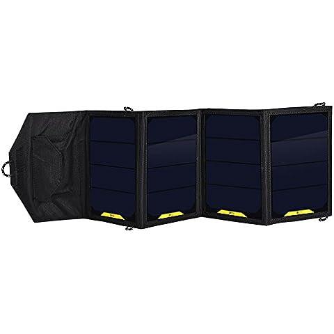 Elobeth portatile 16W 5V Caricatore Pieghevole solare ricaricabile Resistente uscita usb pannello solare caricabatteria per viaggio, campeggio, escursionismo e attività all' aperto, compatibile con iPhone, Samsung, MP4, MP5, Power Bank, bluetoothor Altro dispositivo USB 5V (Nero)