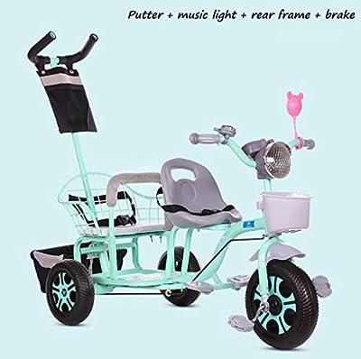 BABY STROLLER ZLMI El bebé Tres-rodado Carro de Dos Pasos del Ajuste del Asiento esPesó y agrandaron los neumáticos neumáticos Libres del Cuerpo 1-6 años,Green,E