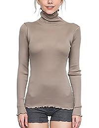 Femmes Col montant / col roulé Tops Chandail Hiver Coloré Haute qualité Élasticité Plaine Soie Coton