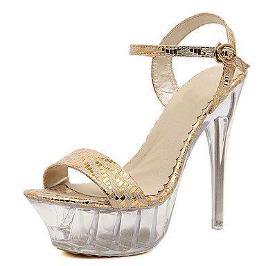 CH&TOU Da donna-Sandali-Matrimonio Formale Serata e festa-Plateau-A stiletto Plateau Tacco in cristallo-PU (Poliuretano)-Argento Dorato golden