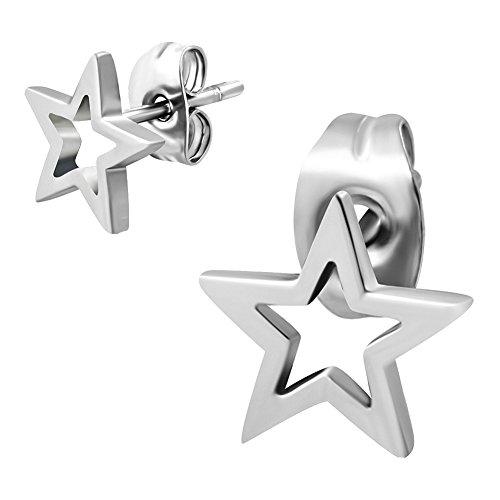 Stern Cut Out Ohrstecker Ohrringe Edelstahl Silber 8mm. Ohrschmuck für Damen und Herren (2 Stück / 1 Paar)