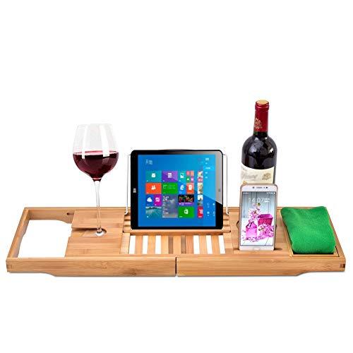 Bambus Bad Caddy, Bad Tablett aus Holz Bad Brücke, Telefon, Tablet, Buch, Kerze, Weinglashalter - Brücke Kerze