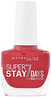 Maybelline New York Super Stay 7 Days Finish Nail Polish Forever Strong Gel Nail Polish Make Up/Colour Ultra Strong Hold With UV Lamp in Rich Red – 1 x 10 ml