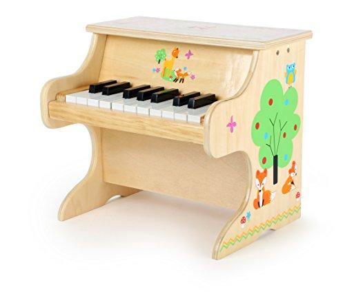 Small Foot 10724 Kinderklavier aus Holz mit niedlichen Tierapplikationen, Spielzeugklavier mit Einer Tonleiter für erste Musikerfahrungen, fördert die Kreativität