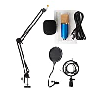 Audio Sound Recording Condenser Studio Microphone BM700 Kit Mic Wind Screen Pop Filter Fold Stand Holder for Singing