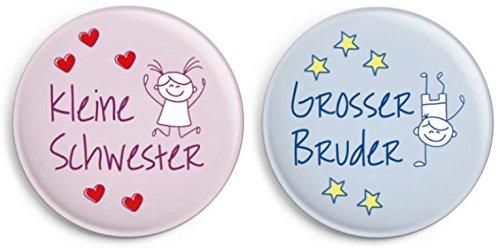Button-Set Ø31mm: Kleine Schwester/ Großer Bruder (Anstecker/ Pin)