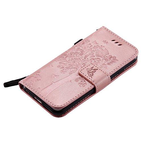 iPhone 6S Hülle,Leder Flip Case für iPhone 6,Ekakashop iPhone 6 / 6S PU Leder Tasche Flip Wallet Case Cover Stand Lederhülle Brieftasche mit Kartensteckplätze,Bookstyle Grün Katzen und Baum Muster Mag Rose Gold