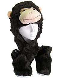 Adults Kids Unisex Monkey Face Trapper Hat/Scarf/Mitten/Mitt Combo Pocket Paws