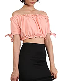 PILOT® Women's Ruched Bardot Gypsy Crop Top in Peach