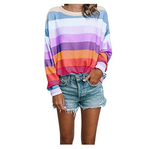 ➤Refill➤Damen Langarmshirt Streifen Langarm T-Shirt Casual Rundhals Tunika Oberteile Tops Freizeit Farbblock Ärmel Pullover T Shirt Locker Sweatshirts -