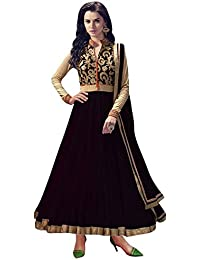 Rensila Women's Black & Beige Color Banglori Silk & Net Fabric Anarkali Salwar Suit