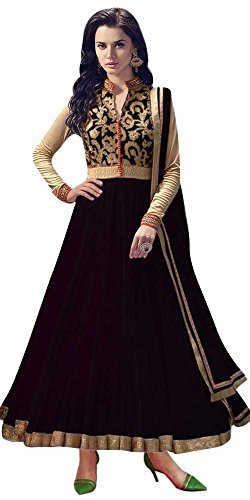 Women's Clothing Anarkali Suit Designer Party Wear Today Offers Low Price Sale Top Black Color Banglori Silk Fabric Free Size Salwar Kameez Dress  available at amazon for Rs.499