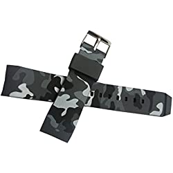 New 22mm Curved Rubber Strap Watch Band Camouflage Military Army Buckle