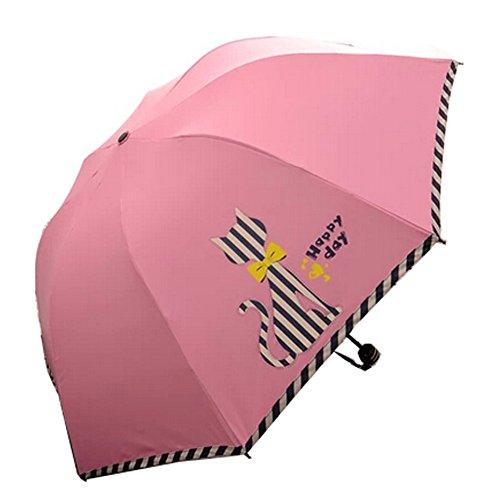 Drei reizende Katze-faltender Regenschirm UV-Schutz Sonnenschirm, rosa