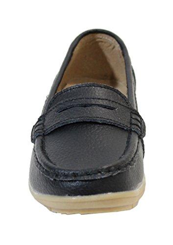 By Shoes Mocassin Plate en Cuir - Femme Noir