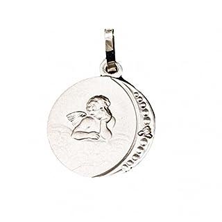 ASS 925 Silber Anhänger Engel,Schutzengel,gesandelt, rund,12mm, mit Diamant (Brillant),0,005ct,Gott schütze dich