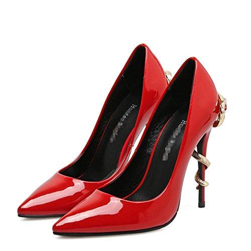 Scarpe Da Ballo Donna Da Banchetto Da Donna Scarpe Da Nera In Metallo Rosso Nero Con Punta In Metallo red